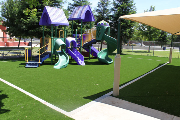 Residential or commercial synthetic grass playground system is safer and cleaner.