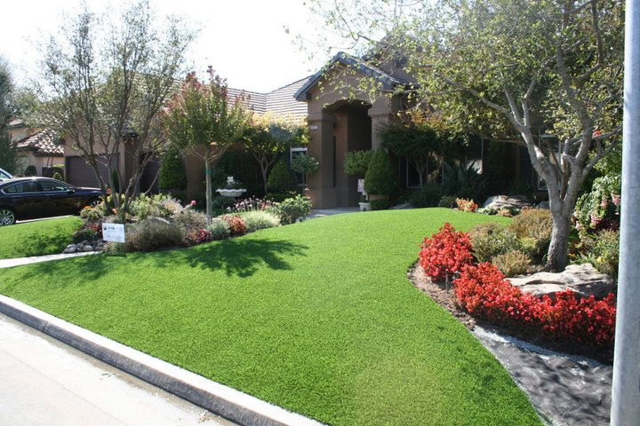 Artificial grass looks and feels like natural grass.
