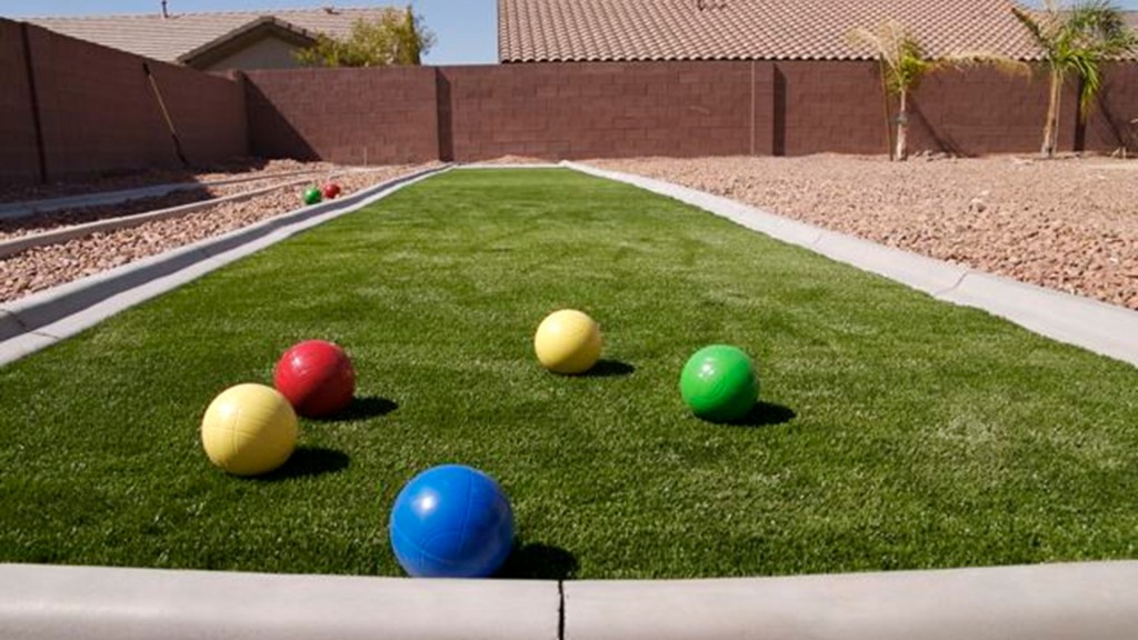 Simple but FUN! This is a bocce ball court that SYNLawn® Las Vegas installed.