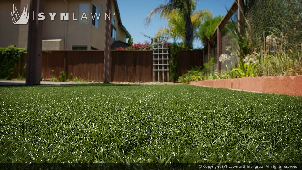 Close up of artificial grass installed at home in Vancouver